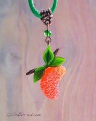 Сочный цитрус, кулон, ягодные украшения, украшения с мандаринами