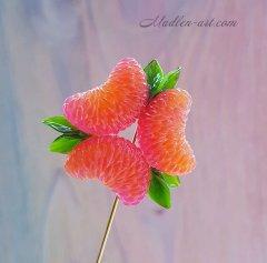 Сочный цитрус...брошь-булавка с мандаринами, ягодные украшения, украшения с мандаринами