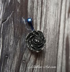 Belly button piercing with black Rose / Украшение для пирсинга пупка с черной розой