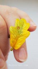 Кольцо с листиком дуба, талисман, авторские украшения /  Ring with an oak leaf, talisman, designer jewelry