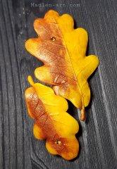 Заколка с листьями дуба, авторские украшения ручной работы/  Hairpin with oak leaves, handmade designer jewelry