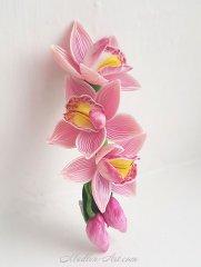Hairpin with orchids, hair jewelry with flowers, wedding jewelry, handmade flowers / Заколка с орхидеями, украшения для волос с цветами,свадебные украшения, цветы ручной работы
