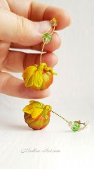 Серьги с тыквами, талисманы, изобилие, украшения с тыквами, авторские украшения  /  Earrings with pumpkins, talismans, abundance, jewelry with pumpkins, designer jewelry
