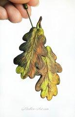 Брошь с листьями дуба, талисман, листья дуба украшение, украшения энергии, авторские украшения / Brooch with oak leaves, talisman, oak leaves decoration, energy jewelry, designer jewelry